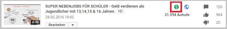 Screenshot Youtube Monetarisierung zum Geld verdienen