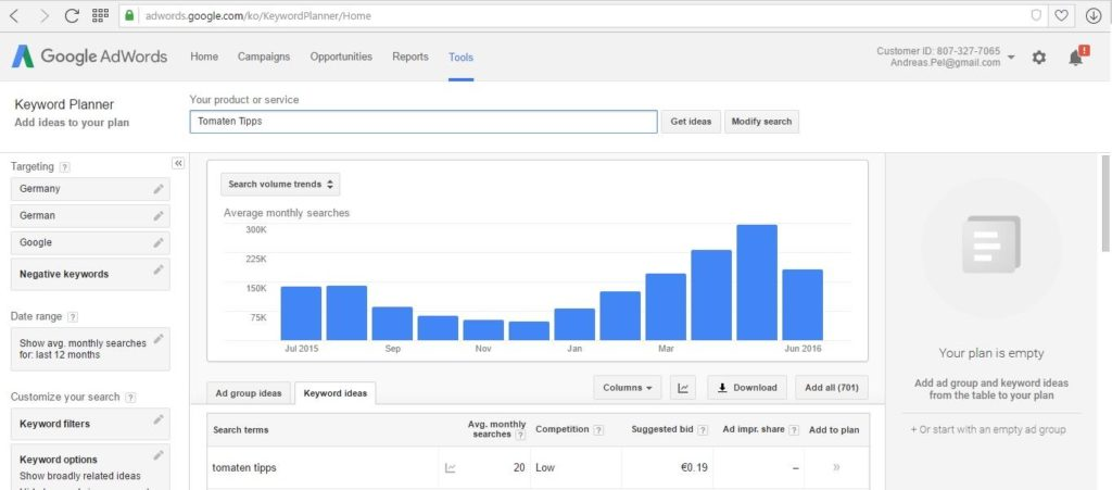 Youtube Google Keyword Planner